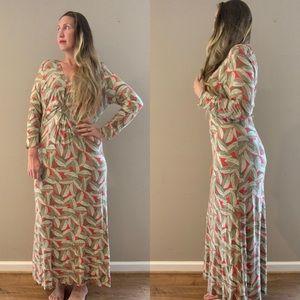 Boden Jersey Twist Front Maxi Dress Leaf Print